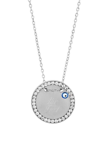 Halskette MIT GRAVUR - Gravurplatte 2,5 cm mit Strasssteinen Blaues Auge Nazar Boncuk, ColorName:Silber