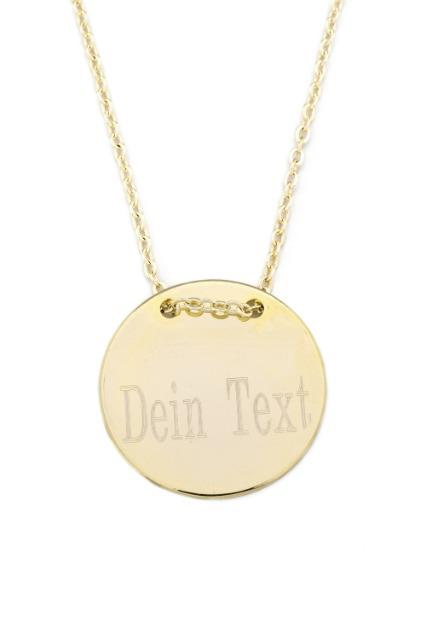 Halskette MIT GRAVUR - Gravurplatte 2,5 cm Münze Rund, Gold Farbe,