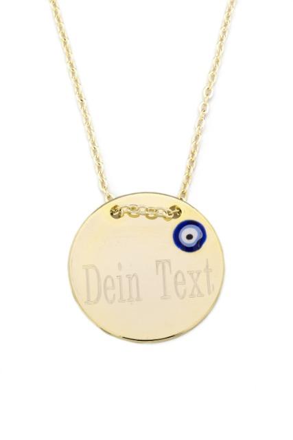 Halskette MIT GRAVUR Gravurplatte Münze Scheibe Nazar Boncuk Blaues Auge,  Gold Farbe