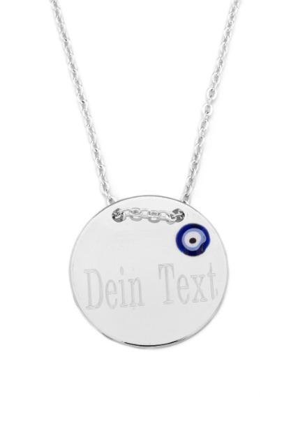 Halskette MIT GRAVUR Gravurplatte Münze Scheibe Nazar Boncuk Blaues Auge, Silber Farbe