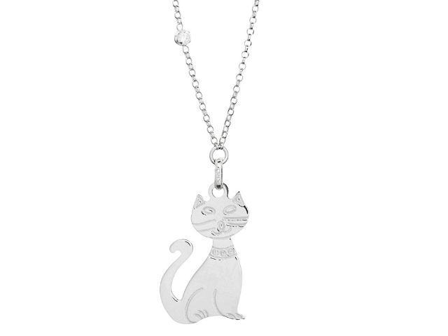 925 Sterling Silber aus Italien - Halskette Anhänger 'Katze' Cat Kitty für Katzenliebhaber