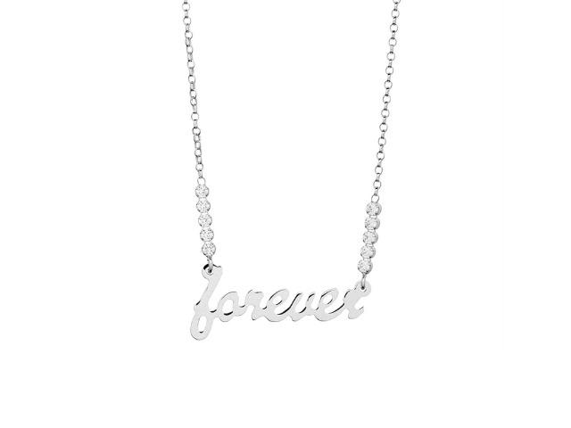 925 Sterling Silber aus Italien -  Halskette Forever Strass