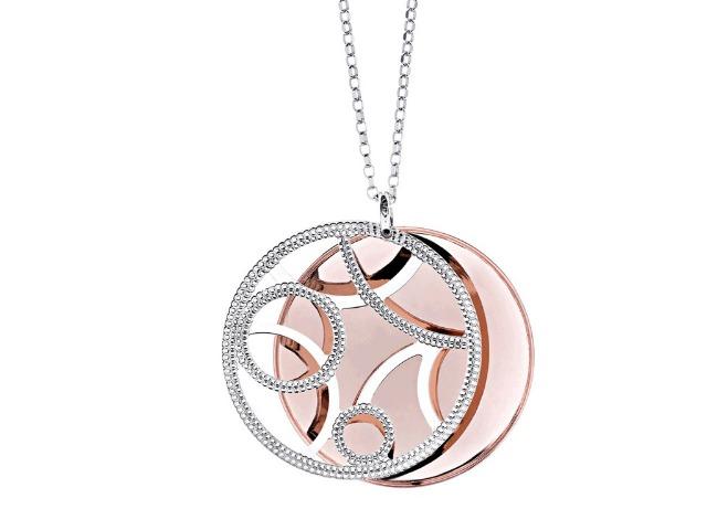925 Sterling Silber aus Italien - Halskette mit rundem Anhänger - 'Milano' - Rosegold