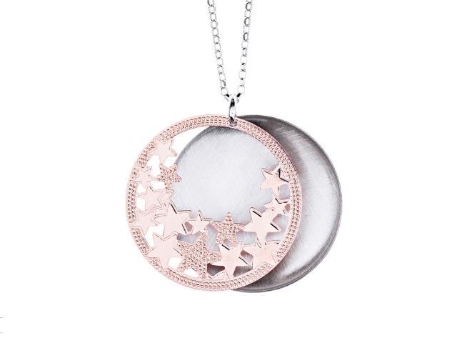 925 Sterling Silber aus Italien Halskette Neapel Sterne Liebe Rosegold