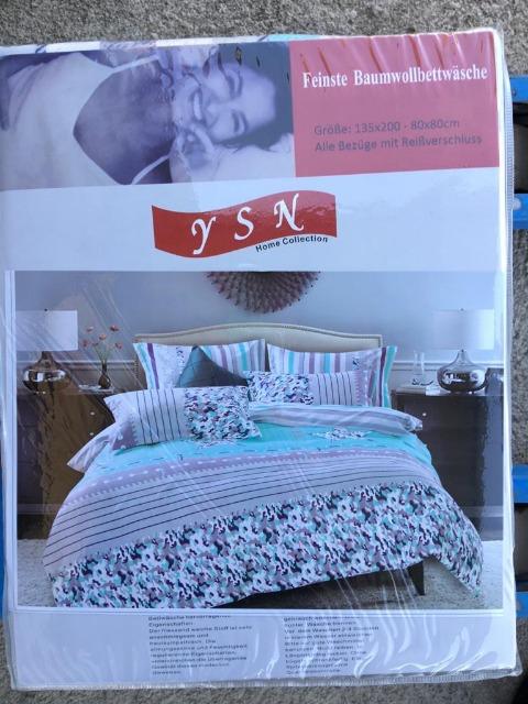 Sommerbettwäsche - Blumen-Design - 1 Person - 135x200 cm + 1 Kissenhülle 80x80 cm Blau Grau Türkis