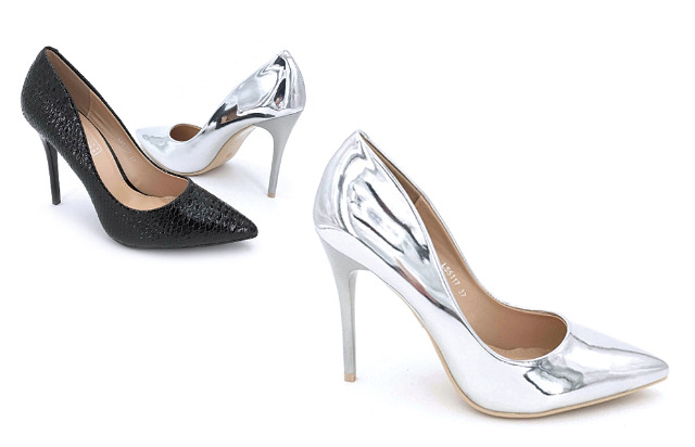 Damen Woman Trend Pumps Spitz Metallic Look Schuh Shoes Absatz Sommer Business Freizeit Damenschuh - 11,90 Euro