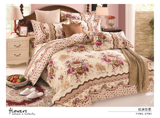 Sommerbettwäsche - Blumen-Design - 1 Person - 135x200 cm + 1 Kissenhülle 80x80 cm Beige und Rosa