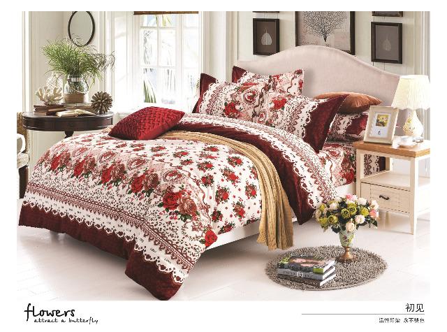 Sommerbettwäsche - Rosen-Design - 1 Person - 135x200 cm + 1 Kissenhülle 80x80 cm Rot
