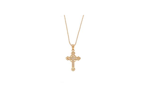 Halskette 'Kreuz' in Gold Farbe, Zirkonia Steinchen