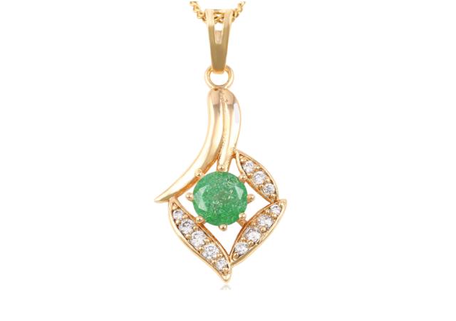 Halskette mit Stein Anhänger - Gold Farbe - Rosa, Lila, Blau, Grün