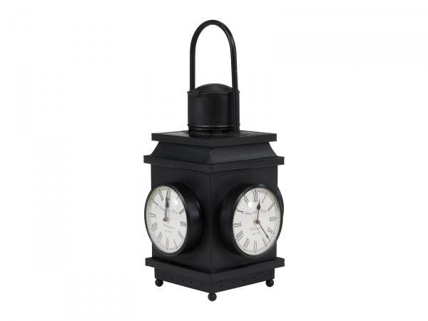 Laterne Alwin mit Uhr 30x60 Eisen schwarz