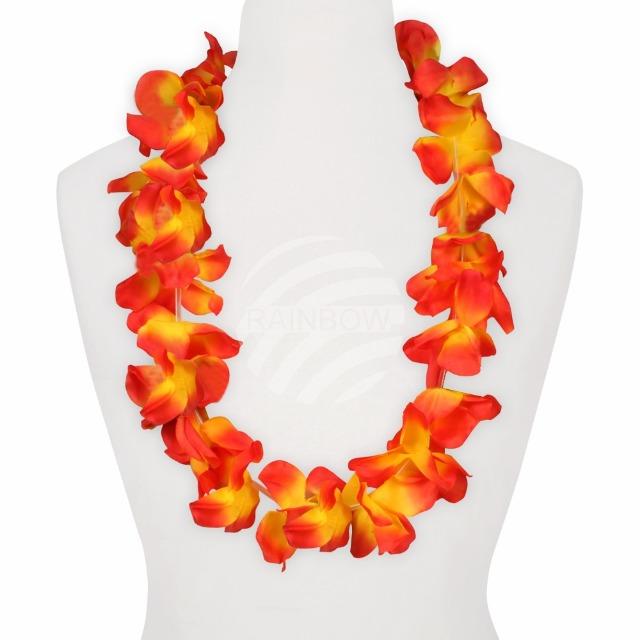 HKm-05 Hawaii Blumenkette MAXI rot gelb Länge: ca. 100 cm