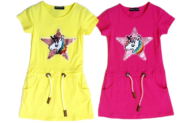 Kinder Mädchen Kleid Pferd Einhorn Wende Pailletten Longshirt 2-12 Jahre Sweatshirt Oberteil Kindershirt Kurzarm - 7,90 Euro