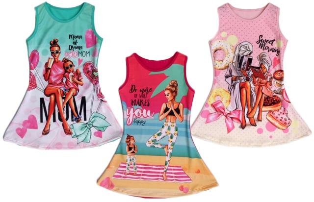 Kinder Mädchen Kleid Longshirt 2-12 Jahre Sweatshirt Oberteil Kindershirt Kurzarm Sommerkleid Strand Freizeit - 5,90 Euro