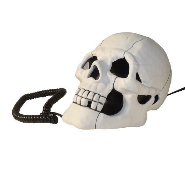 Dekotelefon Totenkopf weiss