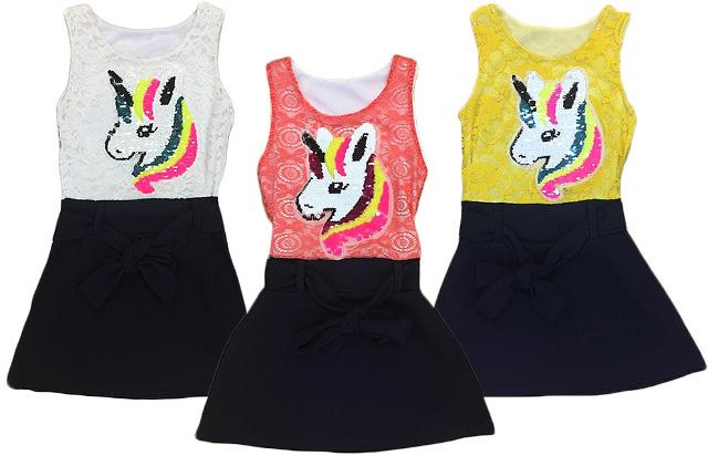 Kinder Mädchen Kleid Einhorn Unicorn Pailletten Spitze Longshirt 2-14 Jahre Oberteil Kindershirt Sommerkleid Strand Freizeit