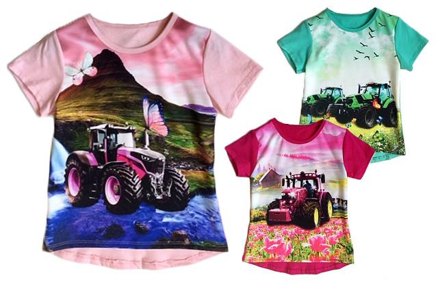 Kinder Mädchen Trend T-Shirt Traktor Blumen 2-12 Jahre Shirt Shirts Kurzarm Kindershirts Oberteil - 4,90 Euro