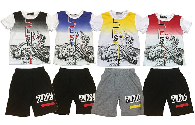 Kinder Jungen Sport Anzug 2er Set Trend T-Shirt und Short Print Freizeitanzug Sportanzug Trainingsanzug Jogginganzug 2-14 Jahre - 5,90 Euro