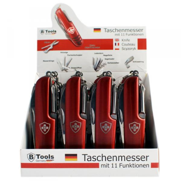 Taschenmesser mit Lasergravur im 12er Display - Rot