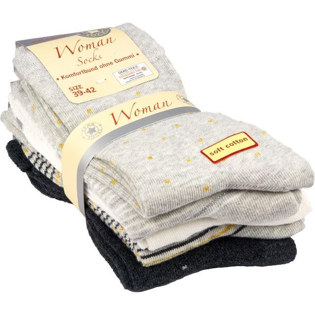 28-045738, Damen Socke 5er Pack, mit Komfortbund ohne Gummi, Socken, Strümpfe