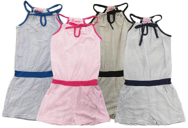 Kinder Kids Mädchen Jumsuit Streifen Overall Einteiler Sommer Strand Freizeit 2-12 Jahre Kinder - 5,90 Euro
