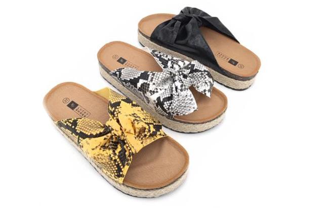 Damen Trend Slipper Sandale Slip on Snake Schlangen Look Schuhe Schuh Shoes Sommer Business Freizeit Schuh nur 9,90 Euro