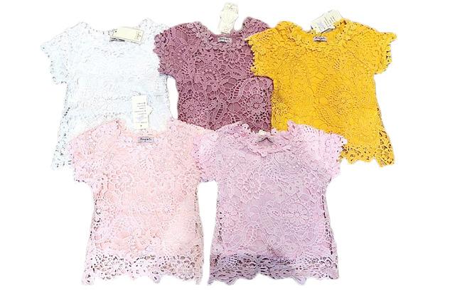 Kinder Kids Mädchen T-Shirt Bluse Spitze 4-14 Jahre Shirt Shirts Kurzarm Kindershirts Oberteil - 7,90 Euro