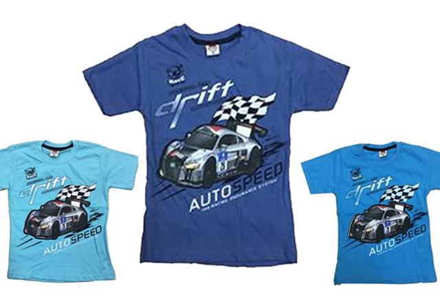 Kinder Jungen T-Shirt 104-128 Print Auto Drift Baumwolle Shirt Shirts Kurzarm Kindershirts Oberteil - 3,90 Euro