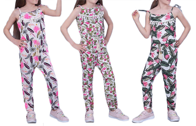 Kinder Mädchen Trend Jumpsuit Sommer Overall 116-146 Flamingo Federn Hosenanzug Ärmellos Playsuit Baumwolle - 5,90 Euro