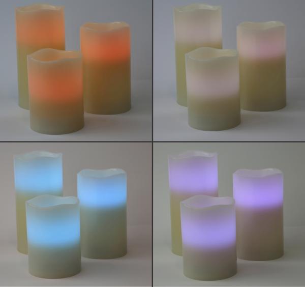 3 LED Kerzen mit Farbwechsel mit 18- Tasten Fernbedienung Weihnachtsdekoration