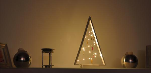 Dekobaum weiß beleuchtet 15 Lichter Lichterkette Holz Weihnachtsdekoration