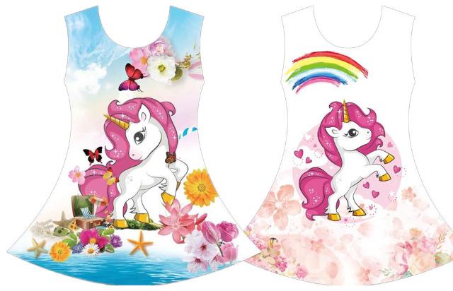 Kinder Mädchen Trend Kleid Pferd Einhorn Unicorn Longshirt 4-14 Jahre Sweatshirt Oberteil Kindershirt Kurzarm - 4,90 Euro