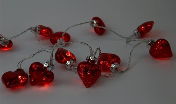 Lichterkette mit roten Glasherzen Weihnachtsdekoration