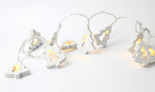 Weihnachtsbaum Lichterkette Holzlichterkette LED 1,2 m Länge Weihnachtsdekoration