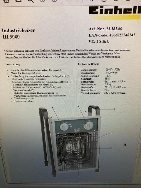 Exportware Einhell IH 3000 Heizgerät Heizung 3 KW Heizlüfter Elektroheizer SCHWEIZER STECKER