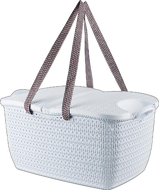 Picknickkorb Rattan Design 27 Liter weiss