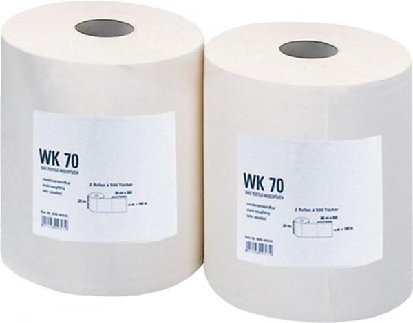 Putztuch WK70 weiß reißfest L.380xB.290mm 500 Abrisse, 1 Rolle