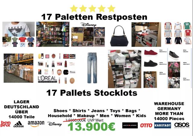 14.000 Teile je 1€ Restposten Palettenware Auflösung