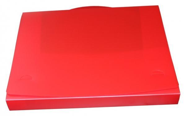 Dokumentenbox Sammelbox A4 mit Tragegriff transparent rot