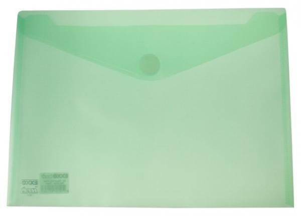 Dokumententaschen mit Klettverschluss A4 quer trans.grün - 10 Stück