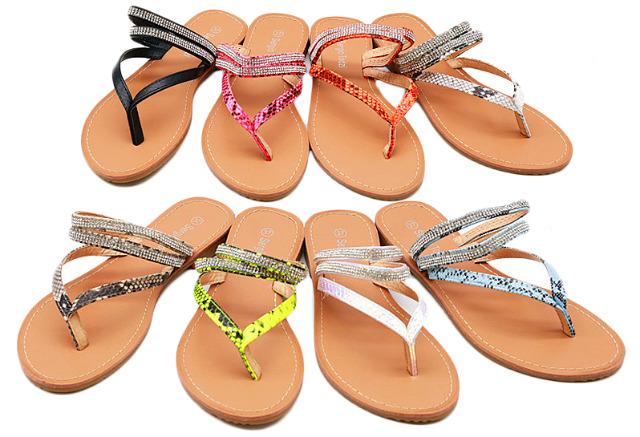 Damen Trend Zehentrenner Metallic Leopard Holo Look Strass Steine Schuhe Slipper Schuh Shoes Sommer Business Freizeit Schuh nur 8,90 Euro