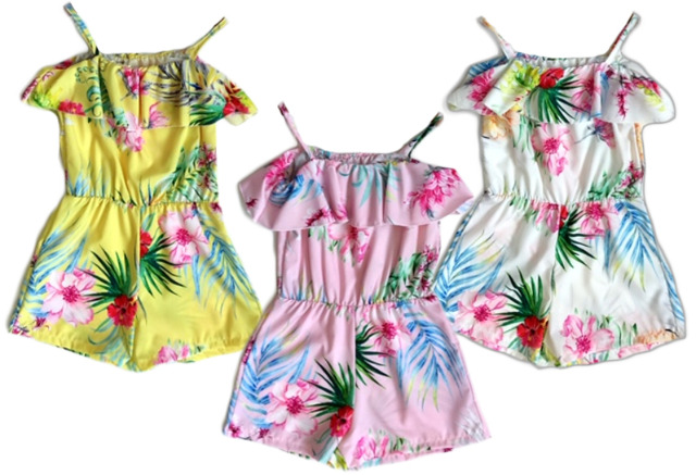 Kinder Mädchen Trend Jumpsuit Sommer Overall 4-14 Jahre Hosenanzug Ärmellos Playsuit - 7,90 Euro