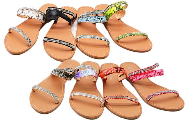 Damen Trend Sandalen Schlangen Snake Look Schuhe Slipper Slip on Schuh Shoes Sommer Business Freizeit Schuh 8,90 Euro