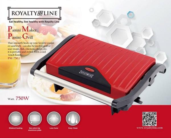 Royalty Line PM-750.1; Panini Grill 750W Red