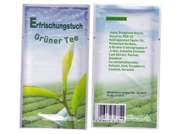 Erfrischungstücher aus Vlies Duft Grüner Tee, einzeln verpackt, Super Give Aways Artikel / Streuartikel