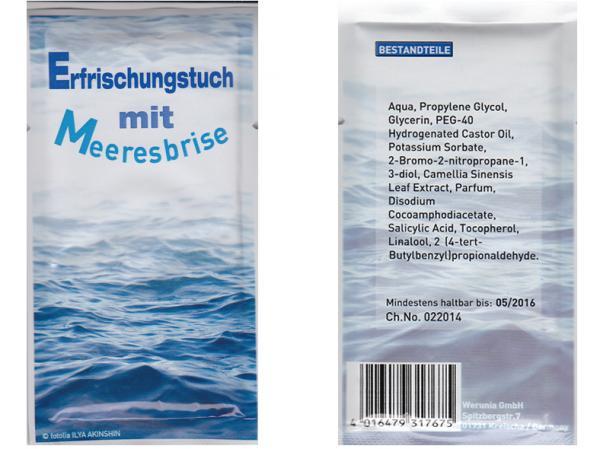 Erfrischungstücher aus Vlies Duft Meeresbriese, einzeln verpackt, Super Give Aways Artikel / Streuartikel