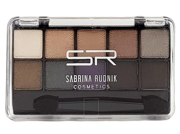 Lidschatten smokey, 10 Farben + Applikator, im 15er Displayaufsteller, Sabrina Rudnik Cosmetics