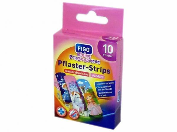Pflaster-Strips 10-teilig für Kinder 56x18 mm / Kinderpflaster, Motiv ''Kleine Prinzessinnen''
