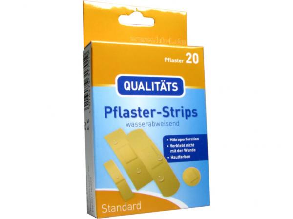 Pflaster-Strips standard 20-teilig in 4 Größen, mikroperforiert, wasserabweisend, hautfarben