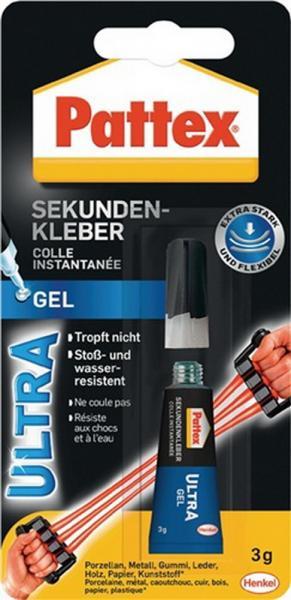 Sekundenkleber Super Gel PSG2C 3g für Ku./Porzellan PATTEX für Holz/Leder, 12 Stück